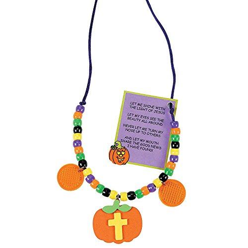 Christian Halloween Pumpkin Beaded Reflector Necklace Craft Kit (Christian Pumpkin Poem)