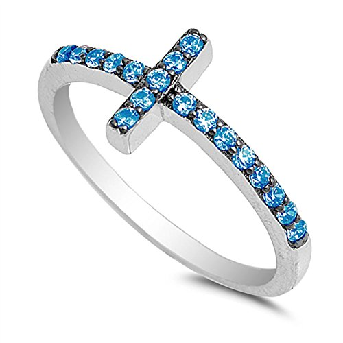 Blue Simulated Topaz - Blue Simulated Topaz Sideways Cross Ring .925 Sterling Silver Christian Band Size 8