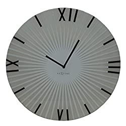 Unek Goods NeXtime Sticks Wall Clock, Battery Operated, Medium Round, Glass, White