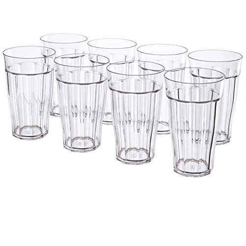 Rhapsody 16-ounce Faceted Plastic Water Tumblers | set of 8 Clear (Stackable Tumblers Plastic)