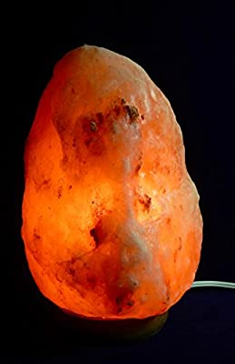 Soothing Natural Himalayan Rock Salt Lamp with wooden Base and 6 foot electrical cord 7watt bulb. Exclusive Beverly Oaks Certificate of Authenticity