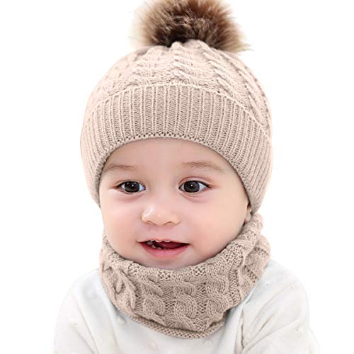 c7a9e3bbd11 Yinuoday 2PCS Toddler Baby Knit Hat Scarf Winter Warm Beanie Cap with  Circle Loop Scarf Neckwarmer