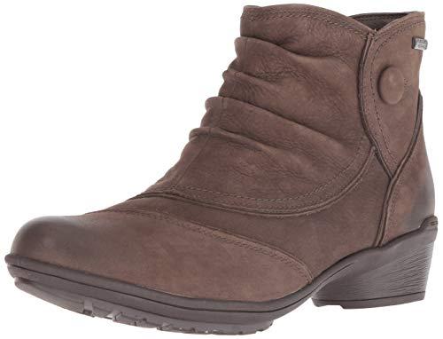 Rockport Women's Raven Waterproof Button Boot Ankle, Stone Nubuck, 9 M US