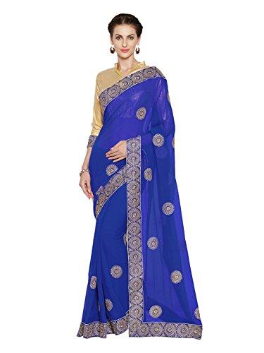 Sourbh Georgette - Espejo de boda para mujer (3784, con colores), Azul Royal, Talla única
