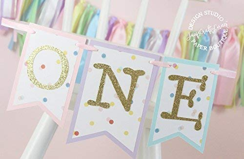 Rainbow Highchair Banner and Ribbon Fabric Garland : Rainbow Unicorn First Birthday 5