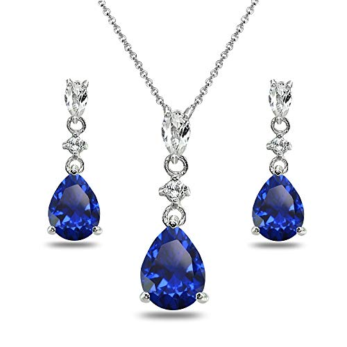 - Sterling Silver Created Blue Sapphire & White Topaz Pear-Cut Teardrop Dangling Stud Earrings & Necklace Set