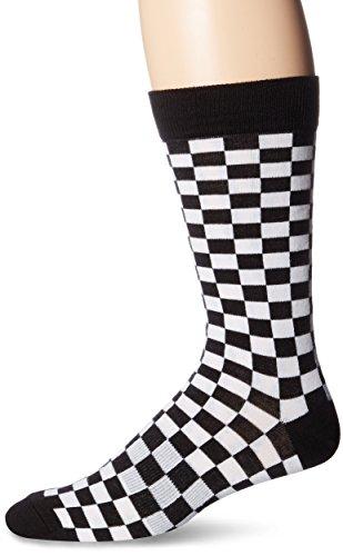 Black And White Checker (K. Bell Socks Men's Crew, Black/White Checkerboard, 10-13)