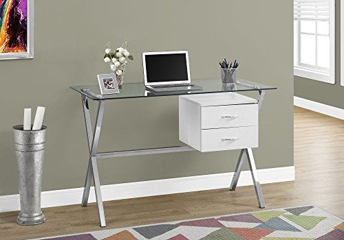 Monarch Specialties I I 7215 Computer Desk-48 L/Glossy Tempered Glass, White
