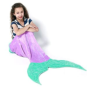 Echolife Mermaid Tail Blanket Super Soft Fleece Sleeping Bags Flannel Mermaid Blanket Tail Great Gifts for Kids Girls 3-12 Year Olds (Purple)