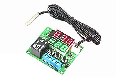 LM YN Digital Thermostat Module DC 12V -20? to +100? Electronic Temperature Control Module Switch Waterproof Sensor Probe Dual LED Display Red+Green