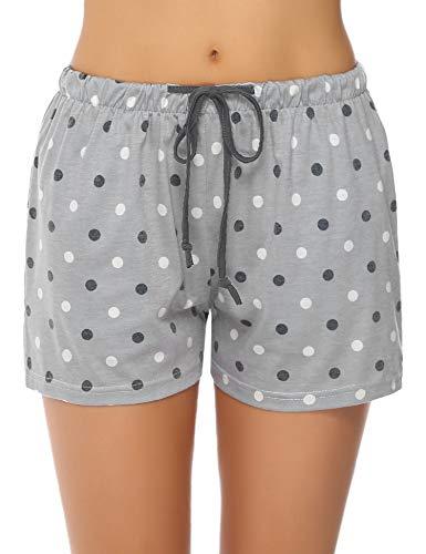 Hawiton Women's Dot Pattern Cotton Sleeping Pajama Shorts Lounge Boxer Drawstring Bottoms ()