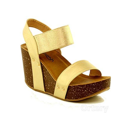 Women's Wedge Platform Sandal Elastic Ankle Strap High Heel Cork Slip On Casual Summer Shoes Champagne 5.5