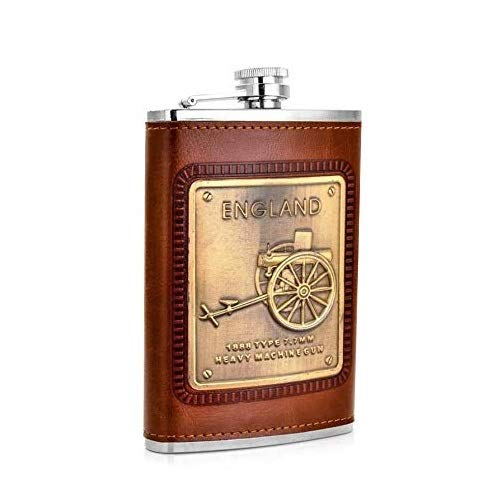 Menzy Stainless Steel and Stitched Leather Hip Flask 8 oz (230 Ml), Wine Whiskey Vodka Alcohol Drinks Pocket Bottle for Men Women – Alcoholic Beverages Holder Liquor Flasks Price & Reviews