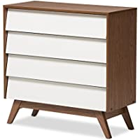 Baxton Studio Herve Mid-Century Modern White & Walnut Wood 4-drawer Storage Chest, White/Walnut Brown