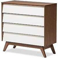 Baxton Studio Herve Mid-Century Modern White & Walnut Wood 4-drawer Storage Chest, White/Walnut Brown