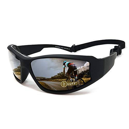 LUFF UV400 Outdoor Riding Glasses Sunglasses to Protect The Eyes from Glare, Suitable for Cycling Running Fishing Ski Golf (Black) (Cycling Winter Goggles)