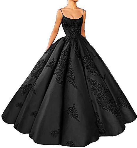 M Bridal Women's Long Embroidery Spaghetti Straps Quinceanera Dresses Ball Gowns Black ()