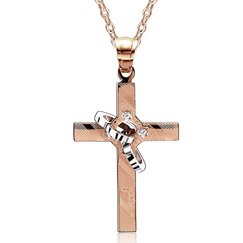 His and Hers Stainless Steel Pendant Necklace 1PCS CZ Interlocking Rings Cross Rose Gold (Hammered Titanium Cross Necklace)