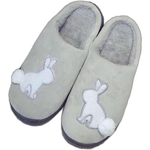 Respeedime Cotton Slippers Men Winter Non-Slip Platform Warm Soft soled Shoes Rabbit Gray 10M