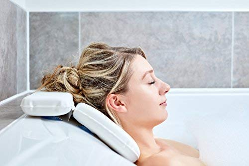 Bath Pillow - Best Bath Pillows By Tranquil Beauty For Head And Neck With 7 Suction Cups - Luxury Bath Cushion For Ergonomic Home Spa Back Support Complete With Contemporary Presentation Gift Box - Bath In Comfort With Quality Durable Microfiber Easy Clean