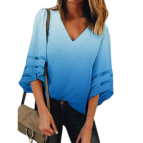 Womens Tops Summer Short Sleeve V Neck Mesh Panel Blouses Lady Casual Loose 3/4 Bell Sleeve Tee Shirts Crop Top -
