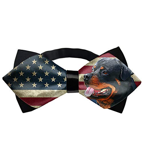 Bowtie, Pre-Tied Adjustable Tuxedo Bow Tie - Rottweiler American Flag Gift for Boys Teens Mens