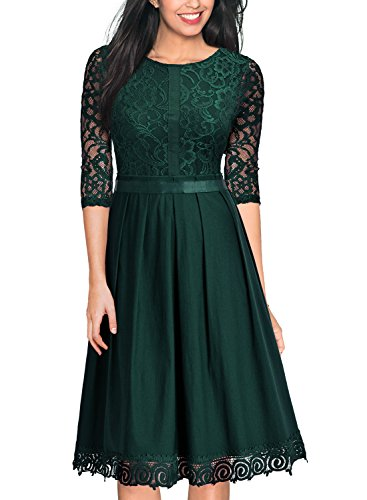 MissMay Women's Vintage Half Sleeve Floral Lace Cocktail Party Pleated Swing Dress Green Large