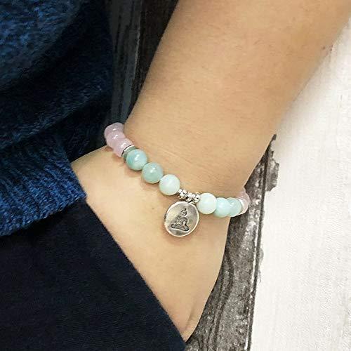 (Mikash Wome Men OM Buddha Lotus Beaded Bracelet Wrist Yoga Amazonite Beads Rose Quartzs   Model BRCLT - 9775   19CM)