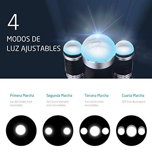 VicTsing - Lampe Frontale LED, 6000lumens, 4modes de lumière, pour Camping, Pêche, Vélo, Course, Chasse...(2piles rechargeables incluses, étanche IP65) 2