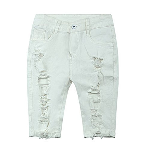 E.JAN1ST Women's Bermuda Shorts Mid Rise Stretchy Knee Length Denim Destroyed Shorts, White, TagsizeXXXL=USsize14 (The Rise Short Womens On Shorts)