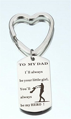 (Tmrow 1pc Father's Day Gifts To my Dad I'll Always Be Your Little Girl You'll Always Be My Hero Keychain Ring,Heart)