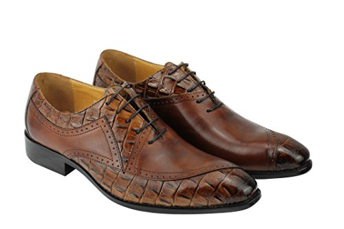 Véritable pour homme Marron en cuir à lacets Style robe Chaussures formelles pour mariage