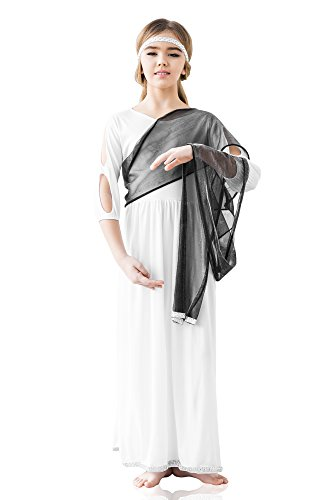 Kids Girls Ancient Goddess Costume Deity Olympus Birthday Party Greek Dress Up (3-6 years, White, Black, Silver) (Roman Goddess Makeup)