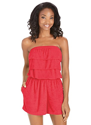 Terry Cloth Romper | Strapless Terry Cloth Romper, Color Red, Size Extra Large (1X), Red, Size Extra Large (1X)