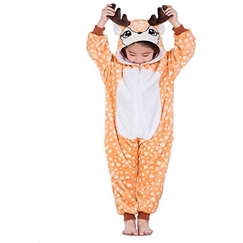 Children's Animal Pajama Onesie Halloween Costume Pockets(Light yellow-120-for Height(110-120 -
