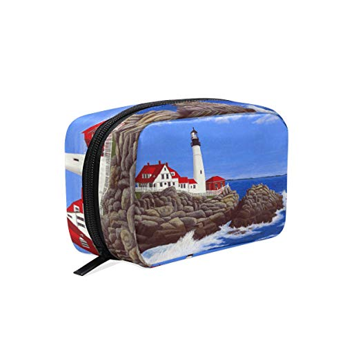 Unicey Portland Lighthouse Painting Makeup Bags Portable Tote Cosmetics Bag Travel Cosmetic Organizer Toiletry Bag Make-up Cases for Women