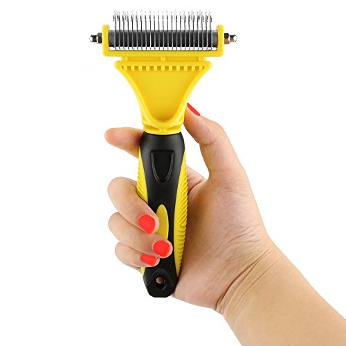 Pet Dematting Comb, Dogs and Cats Grooming Brush Tool, 2 Sided Steel Rake Brush for Small Medium and Large Breeds with Medium and Long Hair, Removes Undercoat Mats Tangles (Regular 12+23 Teeth)