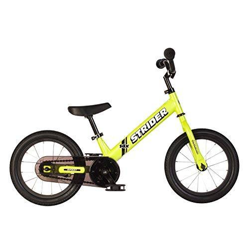 side facing yellow strider 14x pedal balance bike