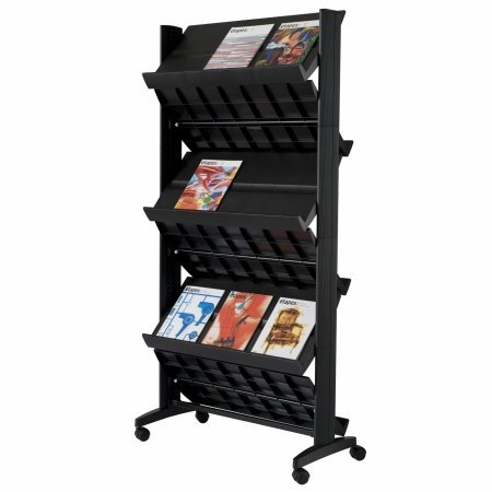 PaperFlow Double Sided Mobile Literature Display, 6 Shelves, 33.67x15.17x66 Inches, Black (252N.01)