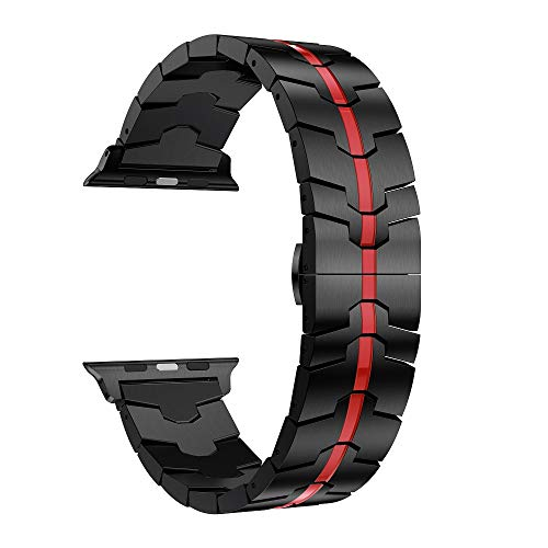 RABUZI Compatible for Apple Watch Band 44mm/42mm,Titanium Metal Watch Replacement Bands Compatible for Apple Watch Series 4/3/2/1 Smartwatch, Black+Red Enamel - Series Enamel