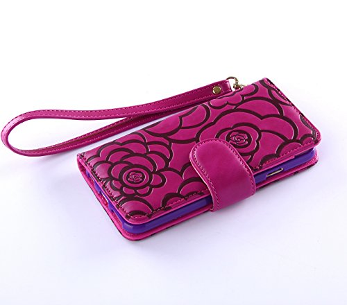 Fashion Handbag with Detachable Hand Strap Protection Shin for iphone6 case cover,Lovely Wallet Stand with Credit ID Card cash slot - Purple Chanel