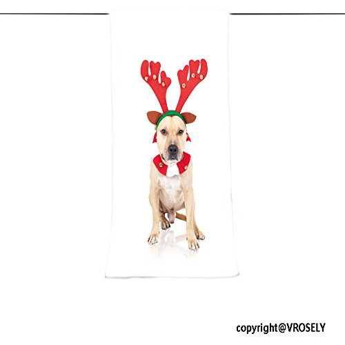 VROSELV Custom Towel Soft and Comfortable Beach Towel-american staffordshire terrier in deer horns at white background Design Hand Towel Bath Towels For Home Outdoor Travel Use 13.8