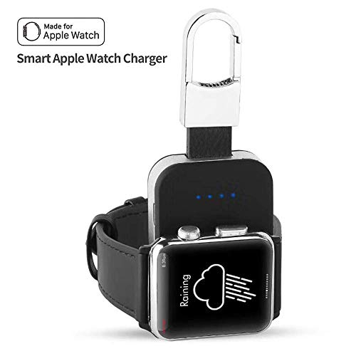 Portable Wireless Charger for Apple Watch, Pocket-Sized iWatch Charger with Built in 950mAh 4 LED Indicating MFI Certified for All Apple Watch Series 1 2 3 4 44mm 40mm 42mm 38mm