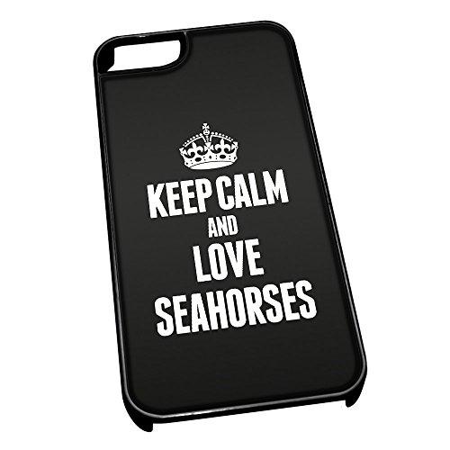 Nero cover per iPhone 5/5S 2479nero Keep Calm and Love Seahorses