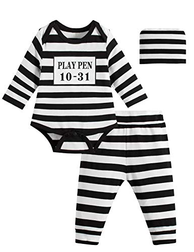 Halloween Convict Costumes (Paddy Field Baby Girls Boys Prisoner Costume Set (3-6 Months,)