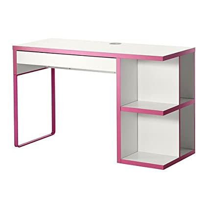 Charmant Micke, Desk With Integrated Storage,white, Pink