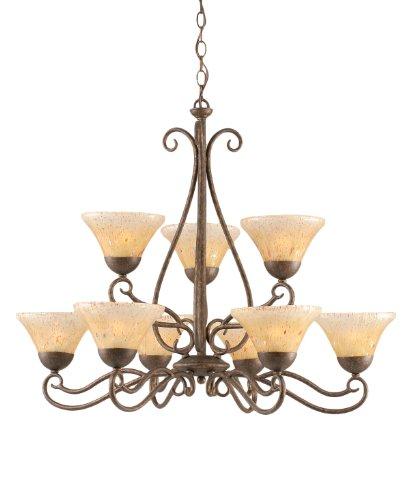 Toltec Lighting 49-BRZ-750 Olde Iron Nine-Light Uplight Chandelier Bronze Finish with Amber Crystal Glass, 7-Inch -