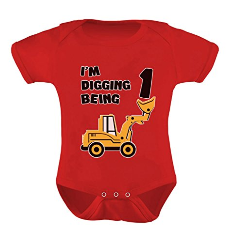 1st Birthday Bulldozer Construction Infant Boy Baby Bodysuit 18M Red -