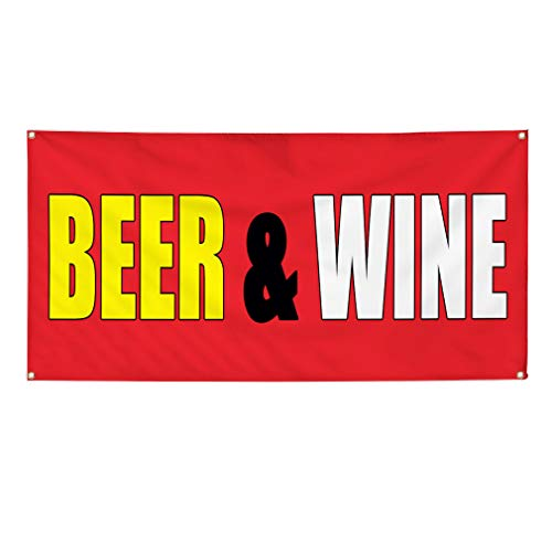 Vinyl Banner Sign Beer & Wine red Food & Beverage Bevarges Marketing Advertising Red - 12inx30in (Multiple Sizes Available), 4 Grommets, One ()