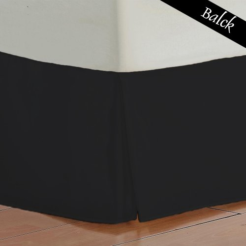 Easy Fit 400 Thread Count 100% Egyptian Cotton Solid Bed Skirt 1PC Pleated Tailored 18 Inches Drop Length. (Black,Queen Size)